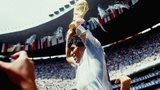 Argentina's Diego Maradona lifts the World Cup trophy in 1986
