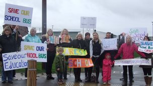 school buses protest
