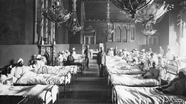 Injured Indian soldiers of the British Army at the Brighton Pavilion, converted into a military hospital