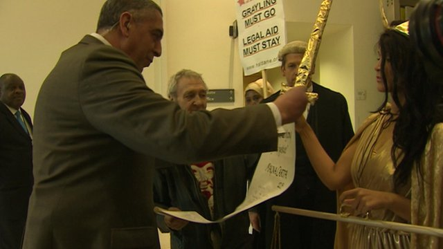 Protestors handing in a copy of the Magna Carta to the Ministry of Justice