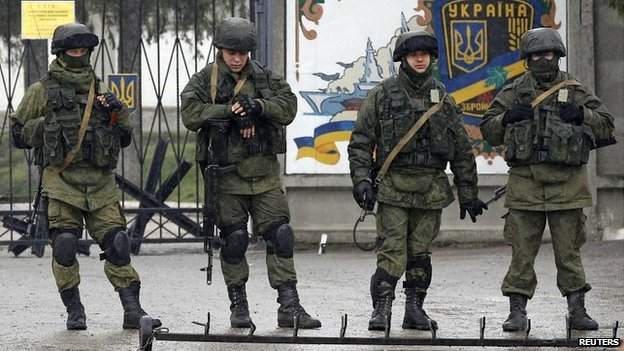 Russian-speaking soldiers outside a Ukrainian military base near Simferopol, Crimea
