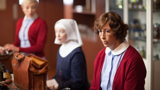 Miranda Hart as Camilla 'Chummy' Cholomondely-Browne in BBC One's Call the Midwife