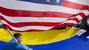Ukraine and US flag