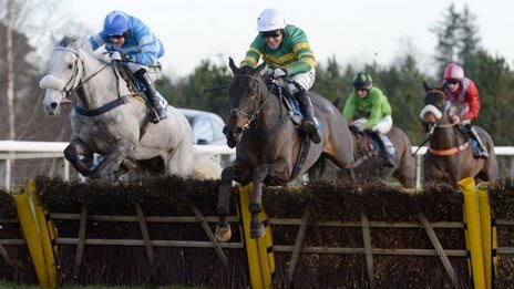Regal Encore (white cap) was beaten into second place at Hexham by Seeyouatmidnight