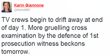 Tweet by the BBC's Karin Giannone