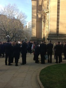 Mourners at Christina Edkins' memorial