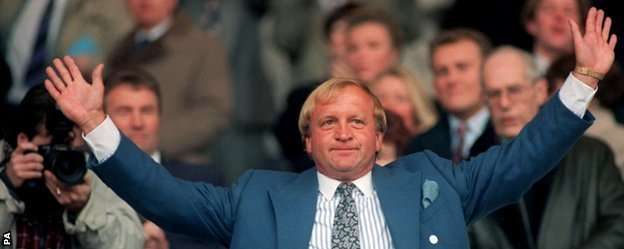 Francis Lee celebrates his takeover at Manchester City in February 1994