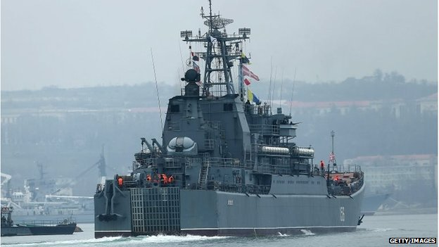 A Russian warship, part of a blockade of Ukrainian ships, is viewed in Sevastopol harbour
