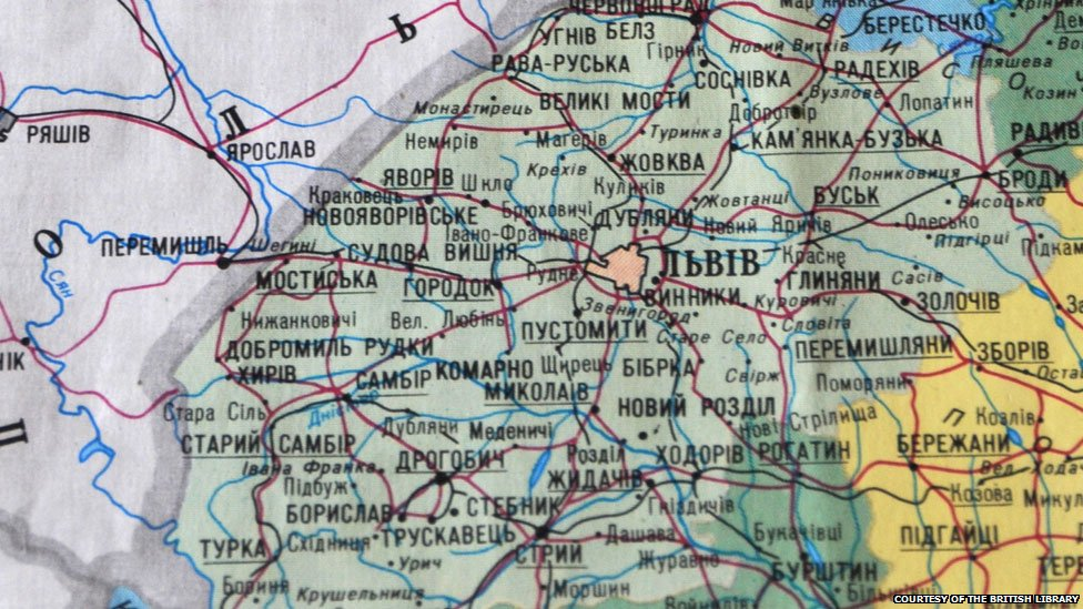 Lviv on modern map of Ukraine, courtesy of the British Library