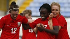 England women celebrate scoring against Finland women