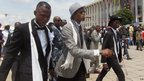 Sapeurs in front of DR Congo's National Assembly in Kinshasa
