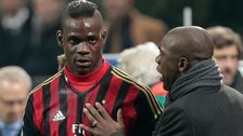 AC Milan's Mario Balotelli and Clarence Seedorf