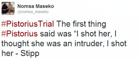 Tweet by the BBC's Nomsa Maseko