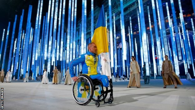 Ukraine flagbearer Mykailo Tkachenko