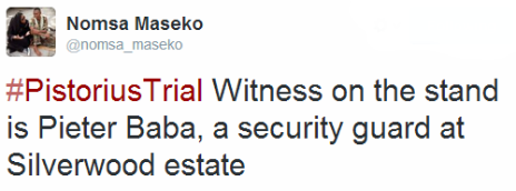 Tweet by the BBC's Nomsa Maseko