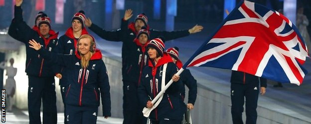 The British team at the Sochi opening ceremony