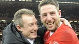 Robert Howley and Alex Cuthbert celebrate winning the 2013 Six Nations