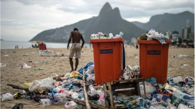 Rubbish on Ipanema beach, Rio de Janeiro