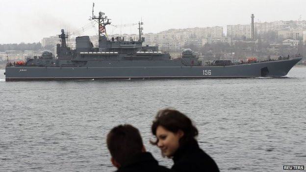 A Russian Navy vessel blocks the entrance to the Crimean port of Sevastopol (7 March 2014)