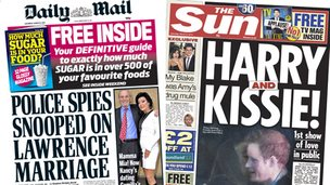Composite image of the front pages of the Daily Mail and Sun on 08 March 2014