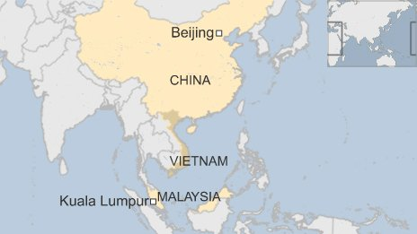 BBC map showing Malaysia, Vietnam and China