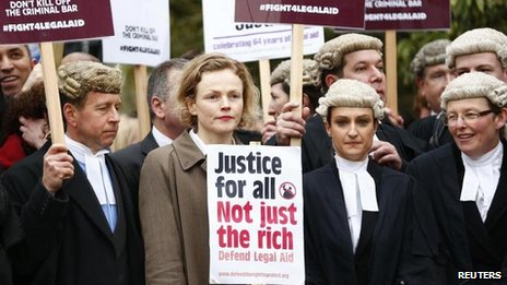 Actress Maxine Peak joins barristers in their wigs and robes during a protest against cuts to the legal aid budget in Westminster on 7 March 2014