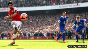 "Mikel Arteta of Arsenal scores his team""s second goal from the penalty spot during the FA Cup Quarter-Final match between Arsenal and Everton"