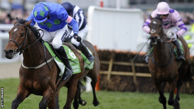 Ruby Walsh riding Hurricane Fly clear the last to win The Stan James Champion Hurdle Challenge Trophy during Champion Day at Cheltenham racecourse last year