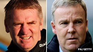 Walsall's Dean Smith and Wolves boss Kenny Jackett