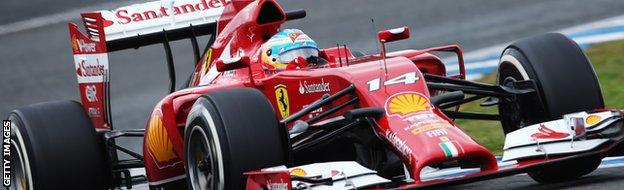 Fernando Alonso in testing at Jerez.