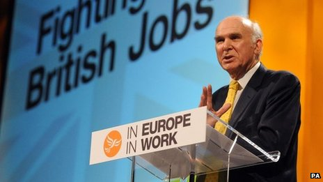 Vince Cable gives a speech during the Liberal Democrat Spring Conference