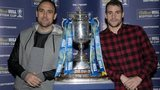 St Johnstone players Lee Croft and James Dunne with the Scottish Cup
