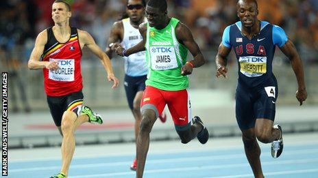 "Kirani James (centre) of Grenada crosses the finish line ahead of LaShawn Merritt (R) of United States and Kevin Borlee of Belgium (L) in the men""s 400m final at the IAAF World Athletics Championships in 2011"