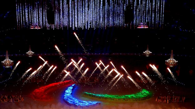 Fireworks at the Winter Paralympics Opening Ceremony