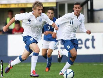 Southampton left-back Luke Shaw and Aston Villa's Jordan Graham