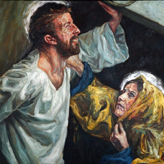Christ meets his mother