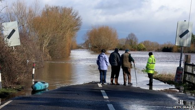 A flooded road close to the village of East Lyng, in Somerset