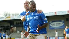 St Johnstone players Lee Croft and Nigel Hasselbaink celebrating