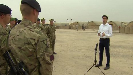 Ed Miliband visits troops in Afghanistan