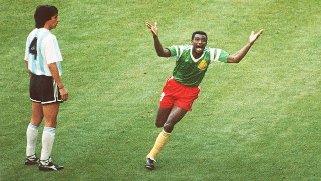 Francois Omam-Biyik scores for Cameroon against Argentina