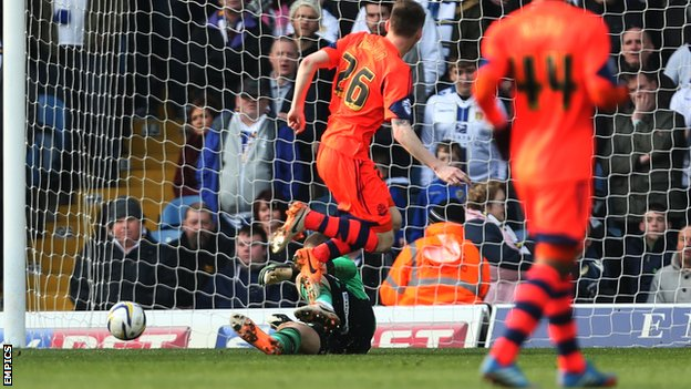 Bolton's Joe Mason puts his side in front at Leeds