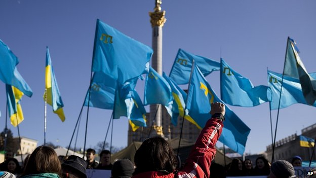 Protest in support of Crimean Tatars in Kiev. 8 March 2014