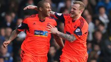 Bolton's Zat Knight (left) celebrates scoring in a 5-1 win at Leeds