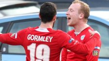 Joe Gormley congratulates goalscorer Liam Boyce
