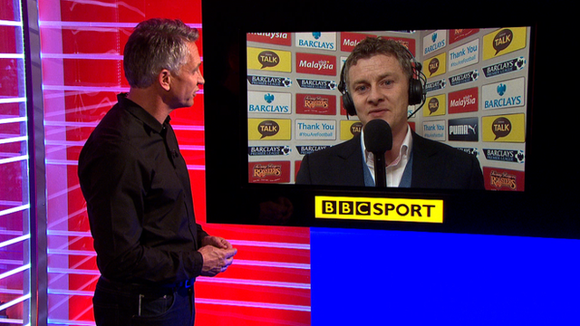 Match of the day presenter Gary Lineker interviews Ole Gunnar Solskjaer