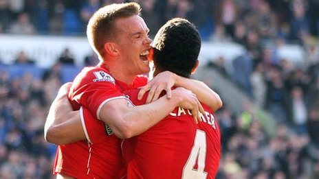 Craig Noone and Steven Caulker celebrate