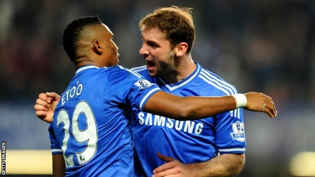 Samuel Eto'o is congratulated by teammate Branoslav Ivanovic after putting Chelsea ahead