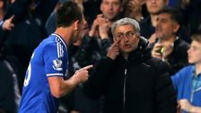 Chelsea manager Jose Mourinho talks to his captain John Terry during the 4-0 win over Tottenham