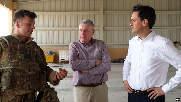 Ed Miliband and Vernon Coaker talk to servicemen at Camp Bastion
