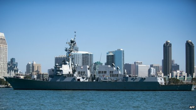 US Navy missile destroyer USS Pinckney in San Diego Bay in September 2013.